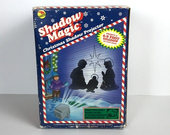 1994 SunHill Shadow Magic Vintage Christmas & Holiday Light Projector Box w/ 9 Slides - Santa, Nativity, Halloween, Thanksgiving, Hanukkah