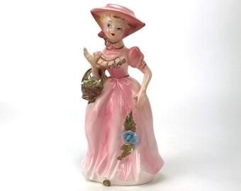 Porcelain Southern Belle Figurine - Mid-Century Vintage Lady in Pink Statuette - Porcelain Lace Accents - Little Bo Peep - Victorian Decor