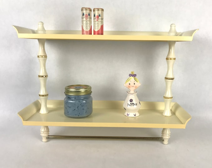Vintage Ivory & Gold Tone Plastic Bathroom Shelf / Hand Towel Rack - Small Mid-Century Shabby Chic 2 Tier Vanity Organizer for Retro Staging