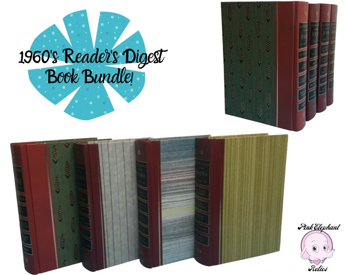 Colorful Book Set for MCM Home Staging - 4 Striped Pattern Reader's Digest Books for 1960's Inspired Bookshelf - Vintage Red Library Decor