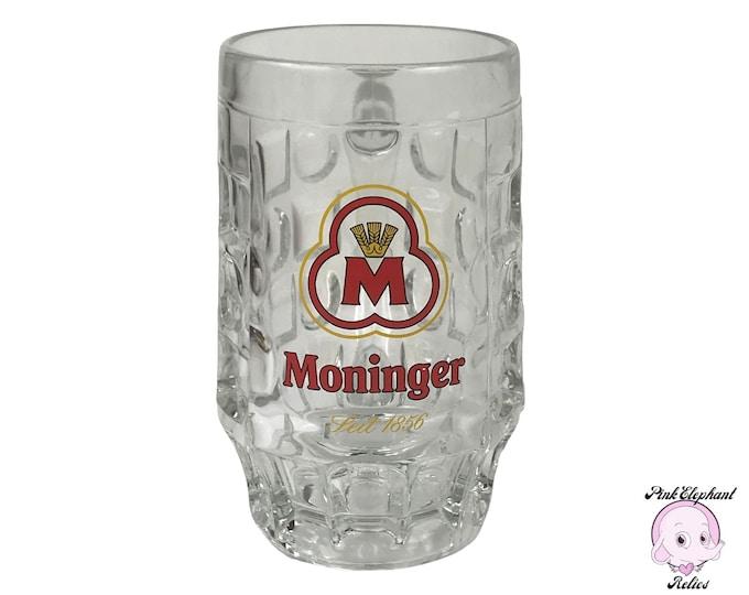 Red Label Moninger Beer Mug .4L - Collectible Vintage German Bier Glasses - Rare Moninger Brewery Heavy Dimpled Barrel Style Glass Stein