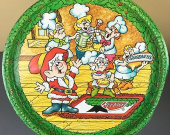 Large 1984 Keebler Elf Christmas Cookie Tin Container / Lid Can Be Used As Holiday Snack Tray - Vintage Keebler Elves Metal Storage Canister
