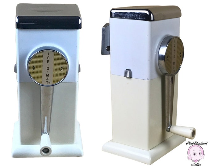 Vintage Ice-O-Mat Ice Crusher in Two Tone White & Cream w/ Chrome - 1950's Retro Wall Mount Crank Style Ice Crusher for MCM Kitchen or Bar