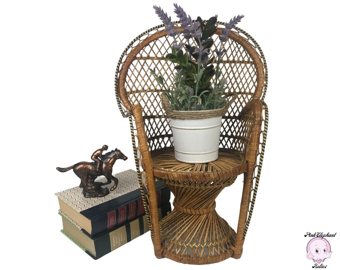 "16"" Vintage Wicker Peacock Chair / Doll Chair / Plant Stand - 70's Boho Chic Patio Planter Decor - Coastal Bohemian Nursery Bedroom Staging"