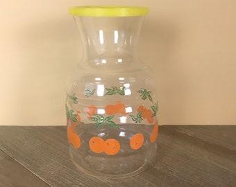 Cute Retro Orange Juice Jar w/ Yellow Lid - Vintage Federal Glass Handi-Serv Decanter - Kitschy Kitchen Decor - Refrigerator Storage Pitcher