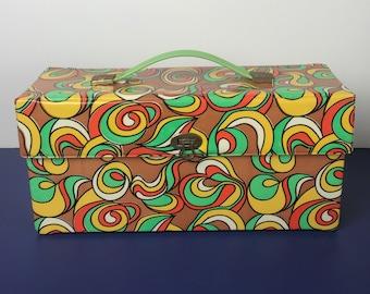 Fabulous Mid Mod Vinyl 8-Track Case or Handbag - Vintage Storage Box for Tapes, Dolls, Cosmetics, 45's - Lime Green, Brown, Orange, & Gold