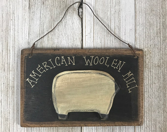 "Cute Little Farmhouse Laundry Room Sign ""American Woolen Mill"" with Sheep - Small Wooden Door or Wall Hanging - Vintage Rustic Country Decor"