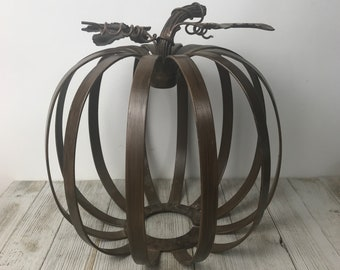 "10"" Metal Pumpkin Cage Perfect for Autumn Centerpiece - Rustic Jack-o-Lantern Flower Arrangement Basket - Halloween French Farmhouse Decor"