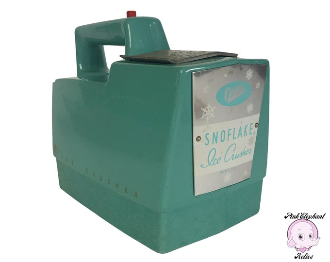 Atomic Aqua Oster Snowflake Ice Crusher for Fabulous MCM Kitchen Shelf Decor - Vintage Turquoise Blue Home Bar or Retro Lounge Staging Props
