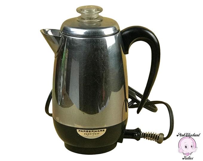 Vintage Farberware Electric Coffee Percolator SuperFast Model 138 - Working Mid-Century Stainless Automatic Coffee Maker / Coffee Percolator