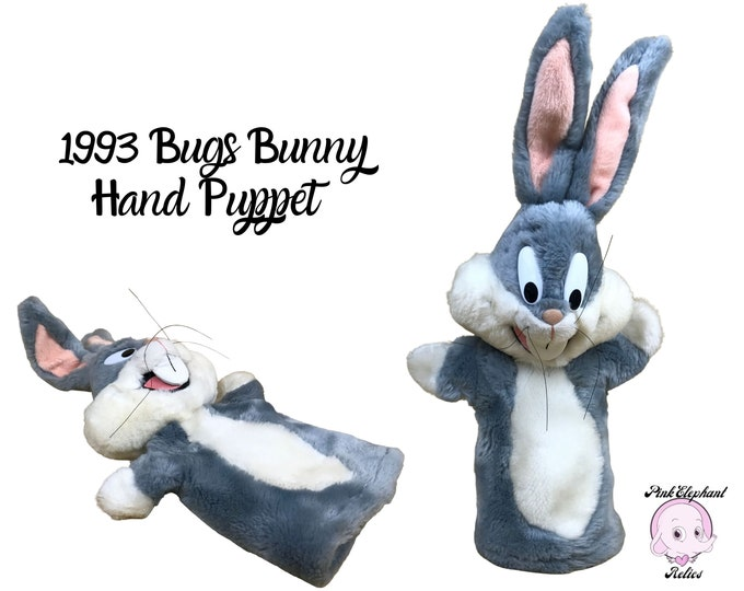 """1993 Bugs Bunny Hand Puppet - Vintage 14"""" Plush Warner Bros Bugs Bunny Collectible Puppet Toy - 90's Saturday Morning Cartoons Nostalgia"""