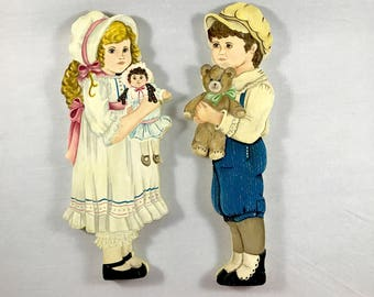 Primitive Boy & Girl Wood Wall Plaques - Vintage Handmade Signed Victorian Children Wall Hangings - Kid's Bedroom - Playroom - Nursery Decor