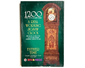 1200 pc Grandfather Clock Jigsaw Puzzle / Real Working Clock Kit - New Vintage Bits & Pieces No. 040385 German Grandfather Clock Puzzle Gift