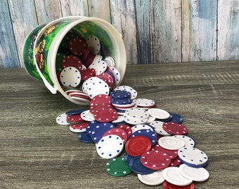 Vintage Poker Chips - 2.5 lbs Bucket of Casino Gaming Poker Chips - Variety - Poker Chip Bundle - Card Games - Gambling - Craft Supply Lot