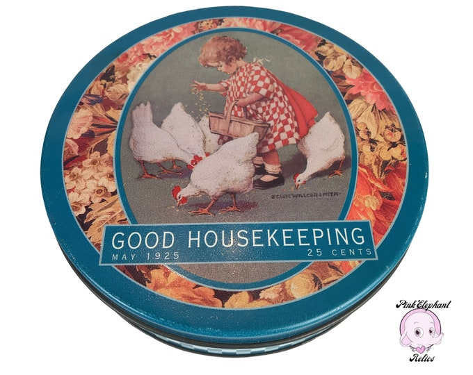 Vintage Collectible Good Housekeeping Tin Can w/ 1925 Cover Art of Little Girl Feeding Chickens - Retro Blue Gingham Farmhouse Kitchen Decor