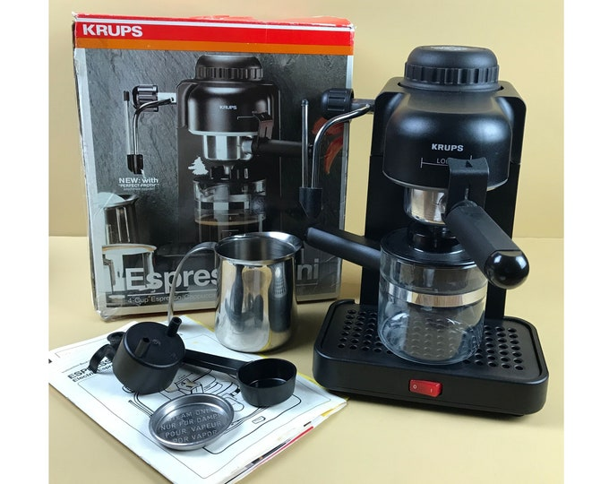 Krups 4 Cup Mini Black Espresso Machine Complete in Box Model 963 A w/ Frother, Cappuccino Pitcher, Carafe, Scoop, Manual and 2 Cup Adapter