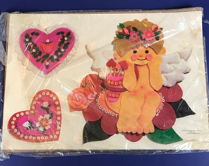 Original Vintage Valentines Wall Hanging Decorations 4 Unused Sheets of Diecut Card Paper Cutouts - 1970's NOS Valentines Day Decorating Kit