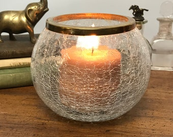 Crackle Glass Bowl With Brass Rim - Elegant Candle Holder - Succulent or Cactus Planter - Unique Candy Dish - Boho Chic Decor - Gift For Mom