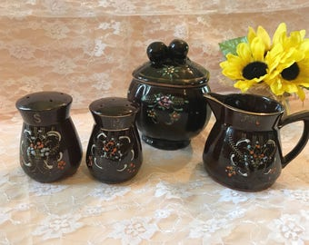 Vintage Mid-Century Japan Made Lusterware Porcelain 4 pc. Cream Sugar Salt & Pepper Set Retro Brown Gold Coffee and Tableware