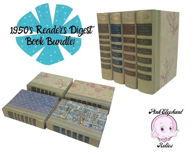 1950's Hardcover Reader's Digest Books with Funky Covers - Excellent Bundle of 4 Vintage Decorative Books - Retro MCM Book Decor or Gift Set