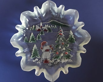 "Mikasa Holiday Landscape 9.5"" Crystal Bonbon Serving Tray - Classic Vintage Red & Green Colored Glass Christmas Dish w/ Frosted Fluted Edges"