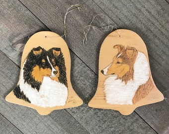 Vintage Handmade Sheltie / Collie Art Christmas Ornaments - Wooden Bell Cutout Ornament Set With Shelties / Collies Drawn & Signed by Artist