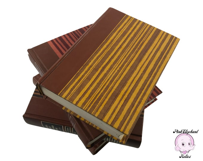 4 Retro Striped Hardcover Books from 1971 by Reader's Digest w/ Brown Spines & Vintage Colors for Reading Library - Brown Book Shelf Decor