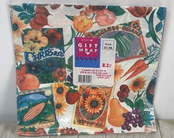 Vintage Summer Garden Themed Wrapping Paper 2 Sheets / 8.3 Sq. Ft Total - Retro Gift Wrap Fruits, Veggies, Flowers & Labels - Craft Ephemera