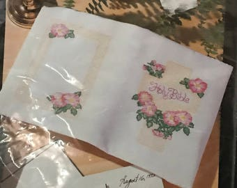 Bucilla Wild Roses Bible Cover Embroidery Kit - Cross Stitch Book Cover DIY Kit - Vintage Stamped Embroidery Pattern -Barbara Sestok Design