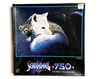 """Vintage Wolf Puzzle by Schimmel """"A Watchful Eye"""" 1997 4684-10 - Used Complete 750 pc Jigsaw Puzzle - Dog Wolves Animal Theme Puzzles"""