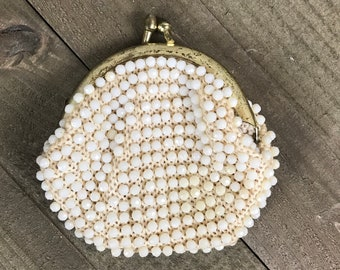 Little White Beaded Coin Purse from the 60's with Gold Metal Kiss Clasp & Red Lining - Dainty Change Pouch - MCM Glam Style Mini Clutch Bag