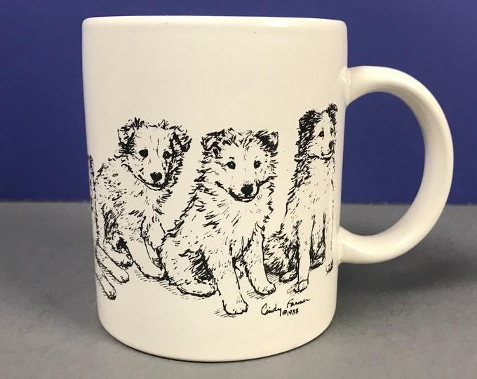 Sheltie Puppies Dog Mug - Vintage Cindy Farmer Art Shetland Sheepdog or Collie Pups Coffee Cup - Dog Show Souvenir Mugs & Collectibles