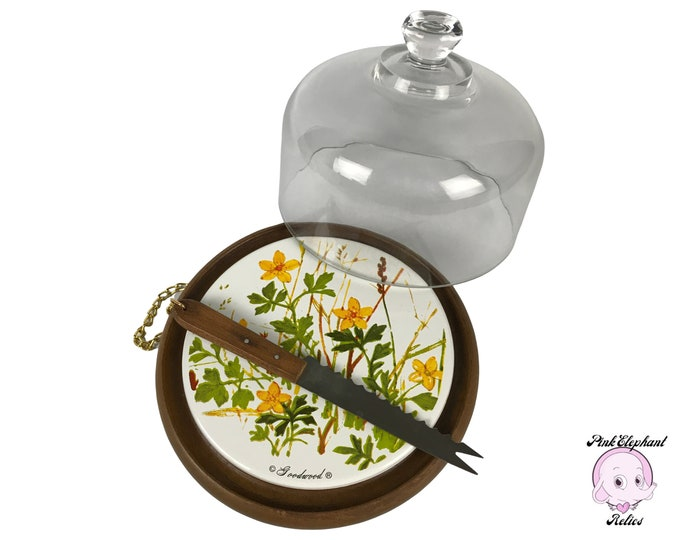 Vintage Domed Cheese Board w/ Yellow Wildflower Ceramic Tile & Knife by Goodwood - 1970's Retro Teak Wood Display Terrarium w/ Glass Dome