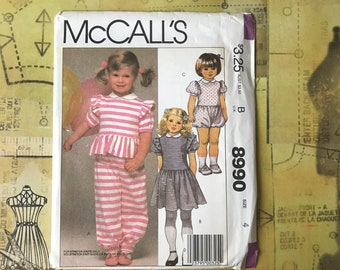 Children's Size 4 UNCUT Romper & Sun Dress Pattern - 1980's Girls Summer Clothes Pattern - McCall's 8990 Unused / New / FF Sewing Pattern