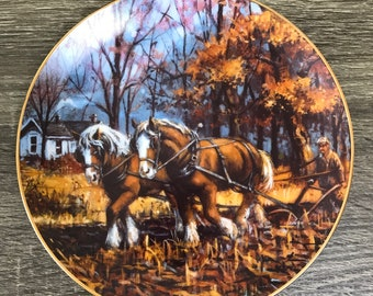 Scratchin' Out A Living Collector Plate - Lowell Davis Art- The American Farm Collection - Danbury Mint - Clydesdale Horse - Draft Horses