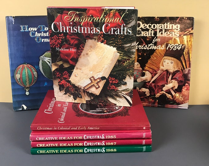 Vintage Christmas Craft Book Bundle - 7 Hardcover Holiday Crafting Books w/ Embroidery Patterns, DIY Ornaments, Kids Crafts, Decorations
