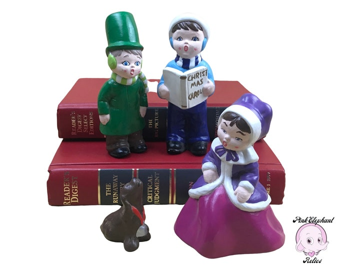 4 pc. Vintage Ceramic Christmas Caroler Figurine Set Hand Painted in 1974 - Kitschy Holiday Decorations - Victorian Girl, Boys & Dog Figures