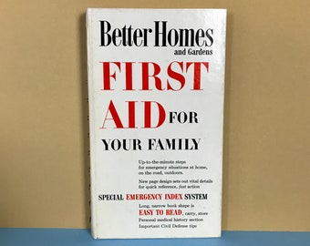 1960 First Aid For Your Family by Better Homes and Gardens Spiral Hardcover Book - Vintage Mid-Century White Bookshelf Decor -Retro Mom Gift