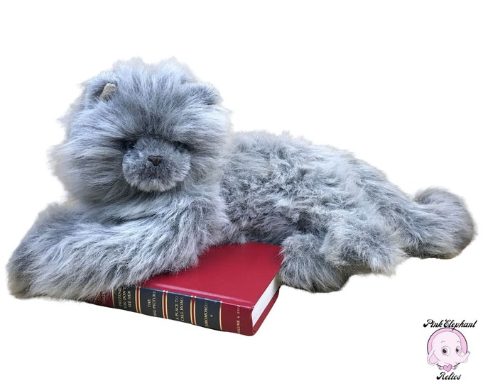 """Large Russ Berrie 22"""" Realistic Yomiko Gray Persian Cat Plush with Blue Eyes - Vintage Long Haired Himalayan Fluffy Cat Stuffed Animal Toy"""