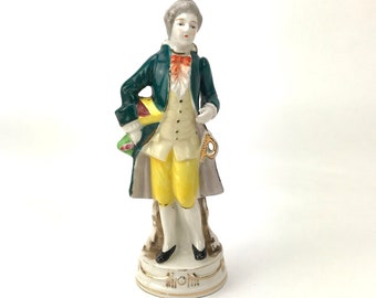 Colonial Gentleman Figurine - Made in Occupied Japan - Moriyama Porcelain - Bourgeois Fancy Man Statuette - Victorian Decor - French Decor