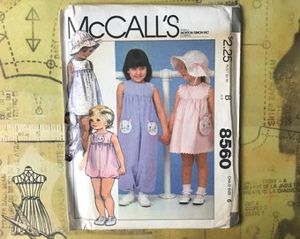 Girl's UNCUT Romper, Jumper, Hat & Bag Sewing Pattern - McCall's 8560 Child Size Summer Dress or Jumpsuit - Kid's Size 2 or 6 Unused Pattern