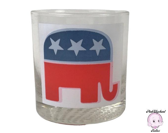 Vintage Republican Elephant Old Fashion Whiskey Glass - GOP Red, White & Blue Star Elephant Emblem on Clear Rocks Glass w/ Textured Bottom