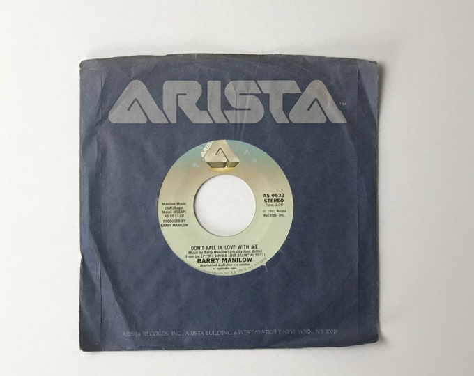 """Barry Manilow The Old Songs / Don't Fall In Love With Me 45 RPM Vinyl Record - 1980's 7"""" Jukebox Single - 1981 Arista Records - 80's Music"""