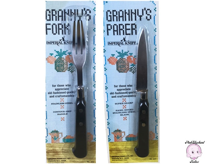 Vintage New Granny's Fork & Paring Knife Set by Imperial Knife Co. - Granny's Parer Knife and Fork Combo - Gifts from Grandma / Grandmother