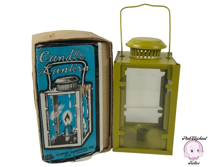 Vintage Chartreuse Yellow-Green Metal & Glass Hanging Candle Lantern - 1960's MCM Patio and Gazebo Lighting Decor - Small Retro Candle Lamp