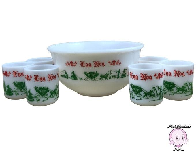 7 pc Mid-Century Milk Glass Eggnog Punch Bowl & Cups by Hazel Atlas - Vintage 1950's Colonial Christmas Egg Nog Serving Set w/ 6 Petite Mugs