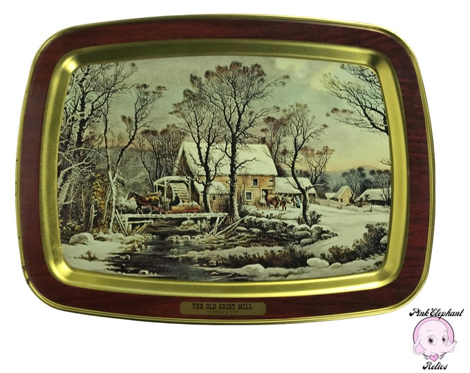 "Vintage Currier and Ives ""The Old Grist Mill"" Decorative Tin Tray w/ Victorian Country Winter Art Motif - Farmhouse Christmas Decorations"