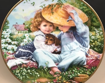 "SALE ""A Time To Love"" Collector Plate w/ COA - Sandra Kuck - Brother, Sister & Puppy Art - March of Dimes Plate - Vintage Nursery Wall Decor"