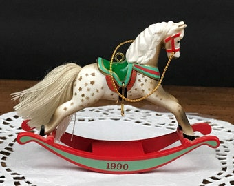 1990 Hallmark Keepsake Rocking Horse Ornament 10th in Collectors Series - Miniature Spotted Appaloosa Horse Halmark Christmas Ornaments