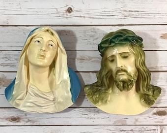 "Vintage Chalkware Jesus & Virgin Mary Wall Plaques - Pair 11"" Plaster Chalk Art - Christian Decor - Mid-Century Roman Catholic - 3D Wall Art"